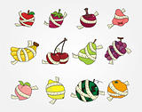 set of fresh fruit and ruler health icon