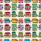 seamless cartoon house/shop pattern