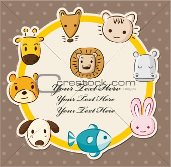 cartoon animal head card