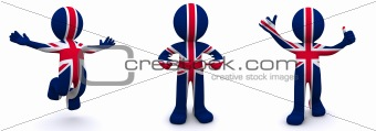 3d character textured with  flag of UK