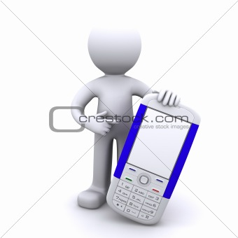 3d character with mobile phone