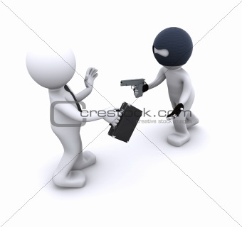 3d character robbing a businessman