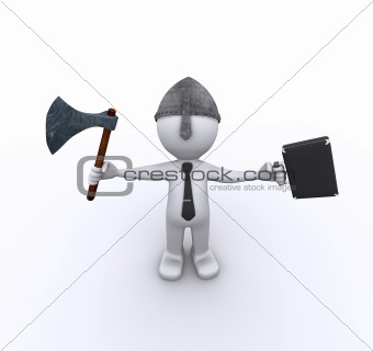 Aggressive corporate worker with axe and case