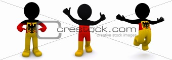 3d character textured with  flag of Germany