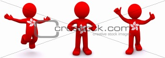 3d character textured with  flag of Hong Kong