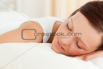 Close up of a Woman sleeping in her bed