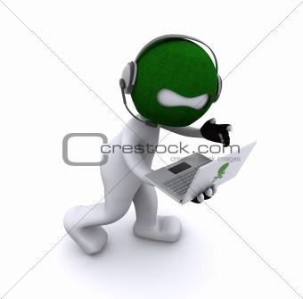 Cartoon hacker with laptop