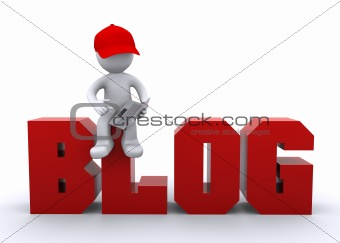 3D  character with laptop and blog sign