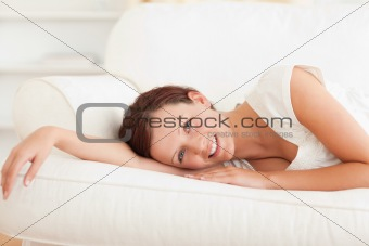 Close up of a relaxing cute woman