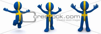 3d character textured with flag of Sweden