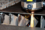Close-up photo of the industrial laser