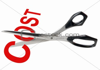 Cost cutting scissors,isolated