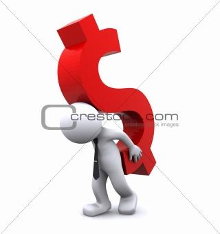 3d character carrying dollar symbol.