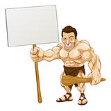 Caveman holding sign cartoon