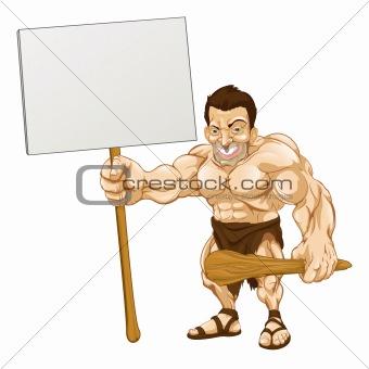 Caveman holding sign cartoon