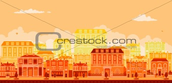 Urban avenue scene with smart townhouses