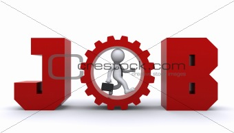 3d man running up inside gear.  Business development concept