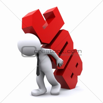 3d man carrying heavy job sign. Overworking concept.