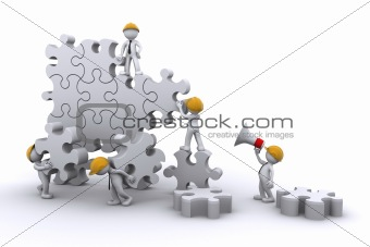 business team work building a puzzle. Business developing concept.