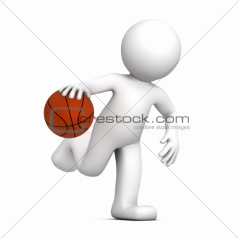 Basketball player isolatedon white background