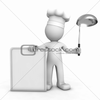 3D chef with blank menu board