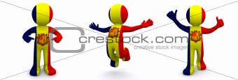 3d character textured with flag of Andorra