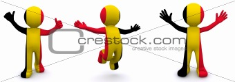 3d character textured with flag of Belgium