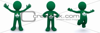 3d character textured with flag of Macau