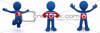 3d character textured with flag of North Korea