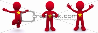 3d character textured with flag of Vietnam