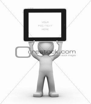 3D Character holding a blank tablet pc. Advertising concept.