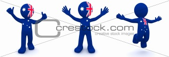 3d character textured with flag of Australia