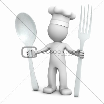 3D chef with spoon and fork