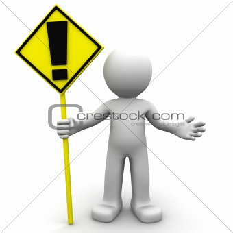 3d character with yellow ALERT sign