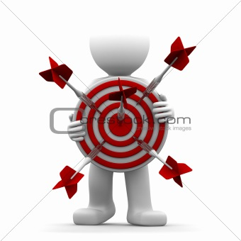 3d character holding a red archery target