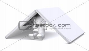 3d character hiding under notebook