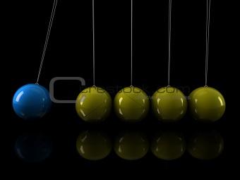 3d yellow blue pendulum