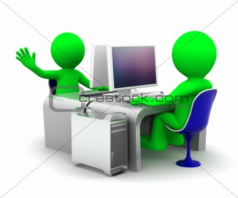 Team of two computer experts at workplace