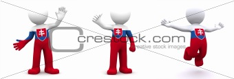 3d character textured with flag of Slovakia