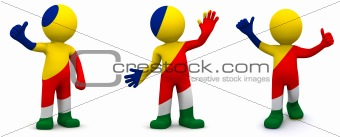 3d character textured with flag of Seychelles