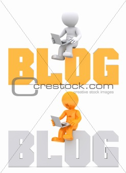3d character sitting on BLOG domain sign.