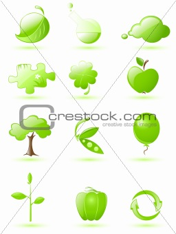 Green glossy icon set