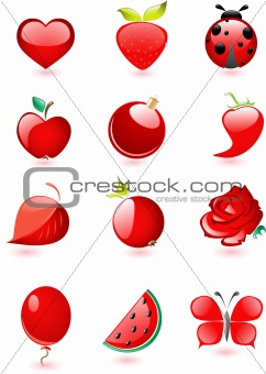 Collection of glossy red icons