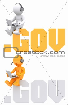 3d character sitting on .GOV domain sign.