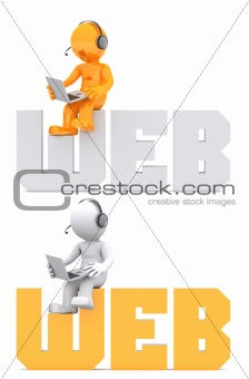 3d character sitting on WEB domain sign.