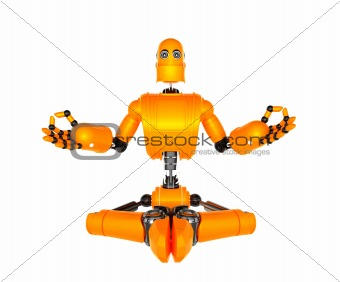 Orange robot in meditation pose