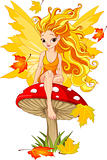 Autumn Fairy on the Mushroom 
