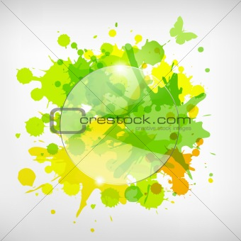 Advertising Glass Board With Color Blots