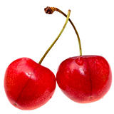 red sweet cherry closeup isolated on white