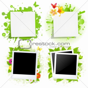 Blank Note Papers And Photos With Green Blot
